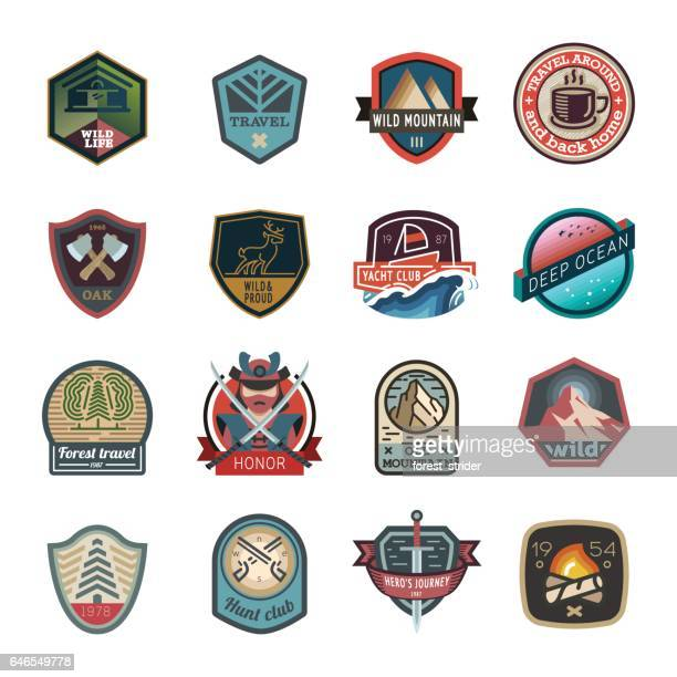 travel and camping logo, emblem - sport stock illustrations
