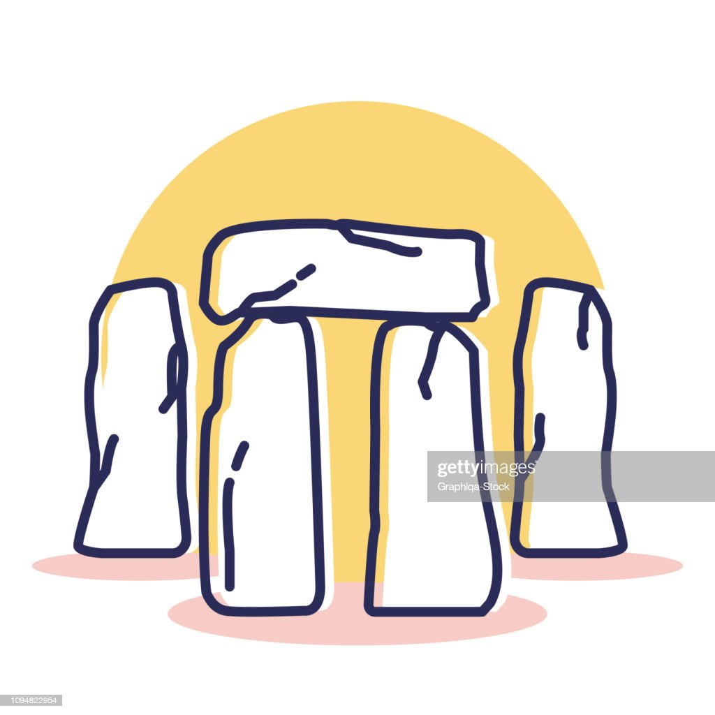 Travel and Destination Stonehenge Icon with Outline Style