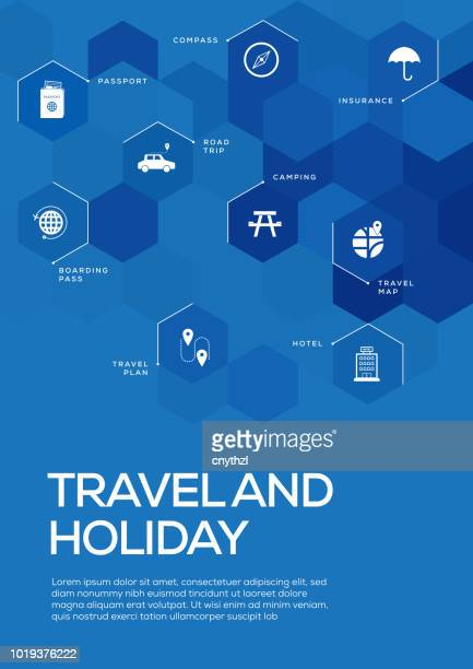 travel and holiday. brochure template layout, cover design - id card template stock illustrations