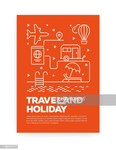 travel and holiday concept line style cover design for annual report, flyer, brochure. - tourism stock illustrations