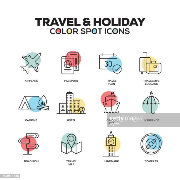 Travel and Holiday icons. Vector line icons set. Premium quality. Modern outline symbols and pictograms.