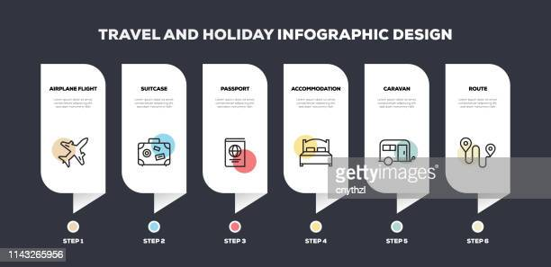 travel and holiday related line infographic design - airplane ticket stock illustrations