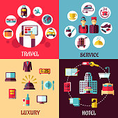 Travel and hotel services flat concept