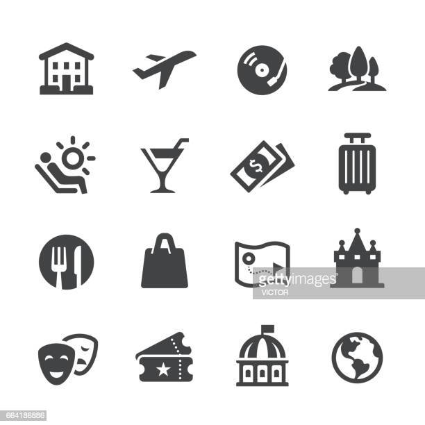 travel and leisure icons - acme series - arts culture and entertainment stock illustrations