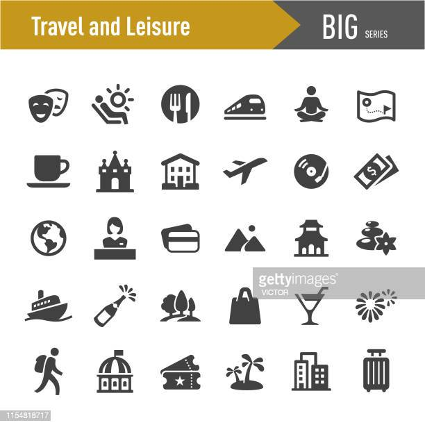 travel and leisure icons - big series - leisure activity stock illustrations