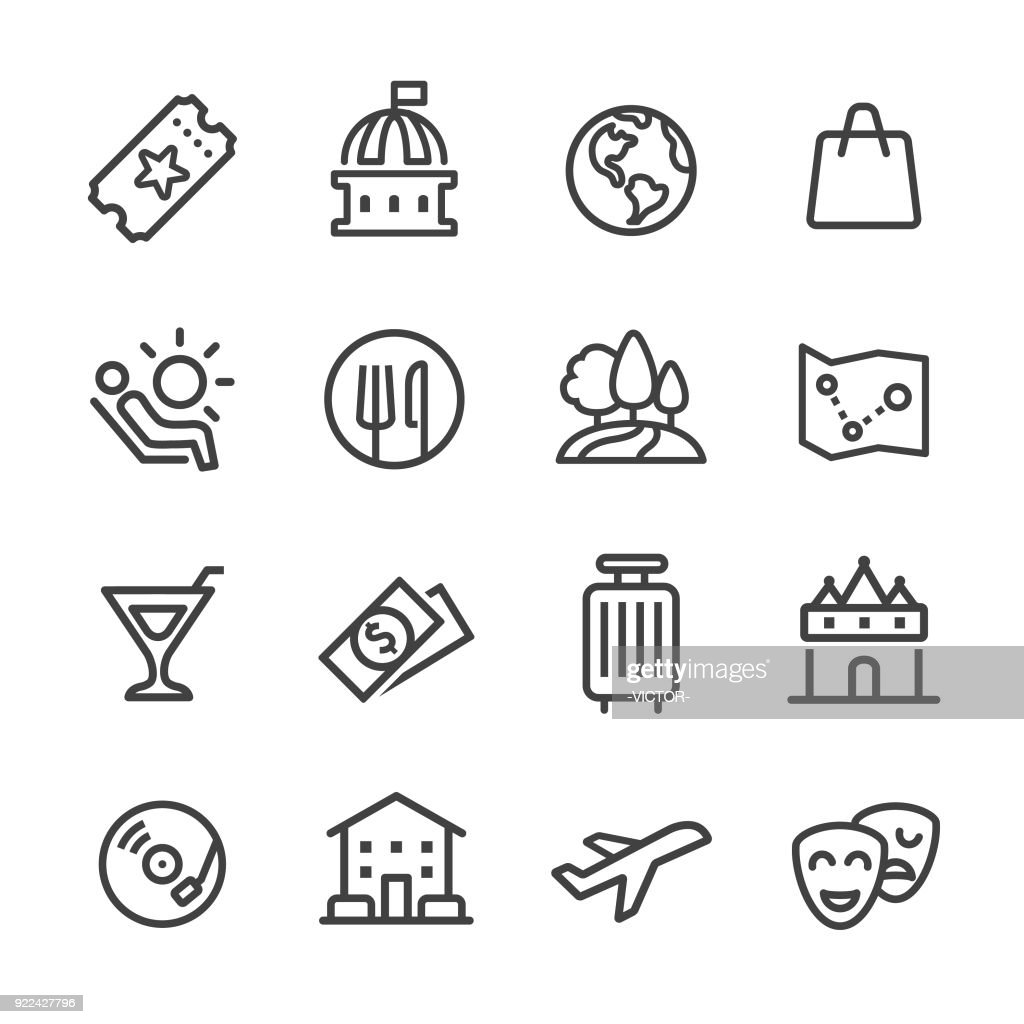 Travel and Leisure Icons - Line Series : stock illustration