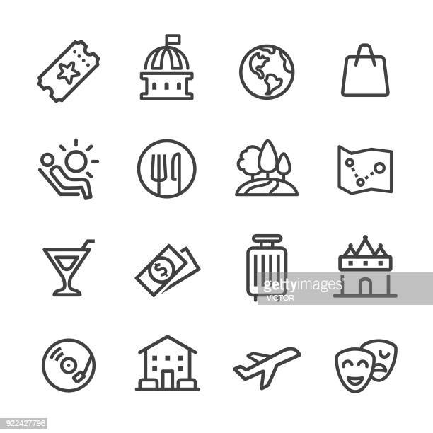 travel and leisure icons - line series - arts culture and entertainment stock illustrations
