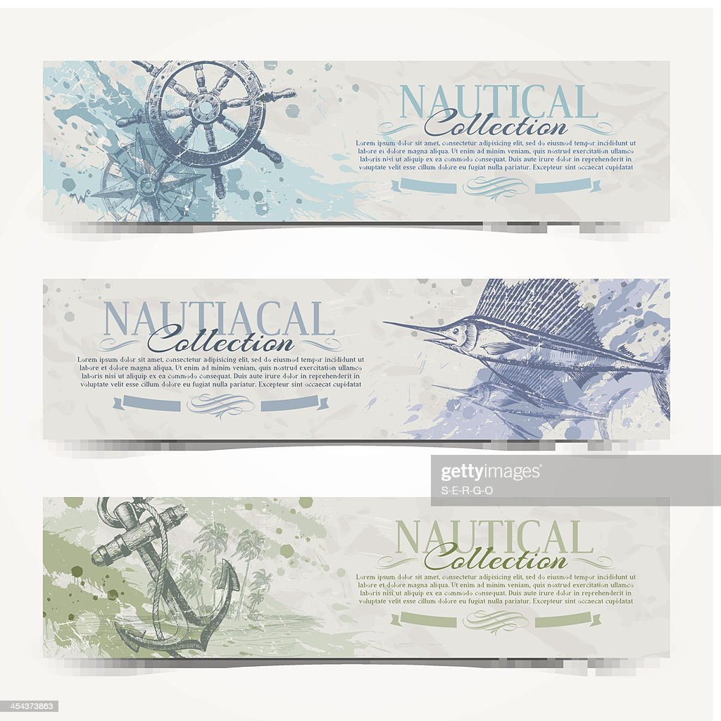 Travel and Nautical - vintage hand drawn vector banners