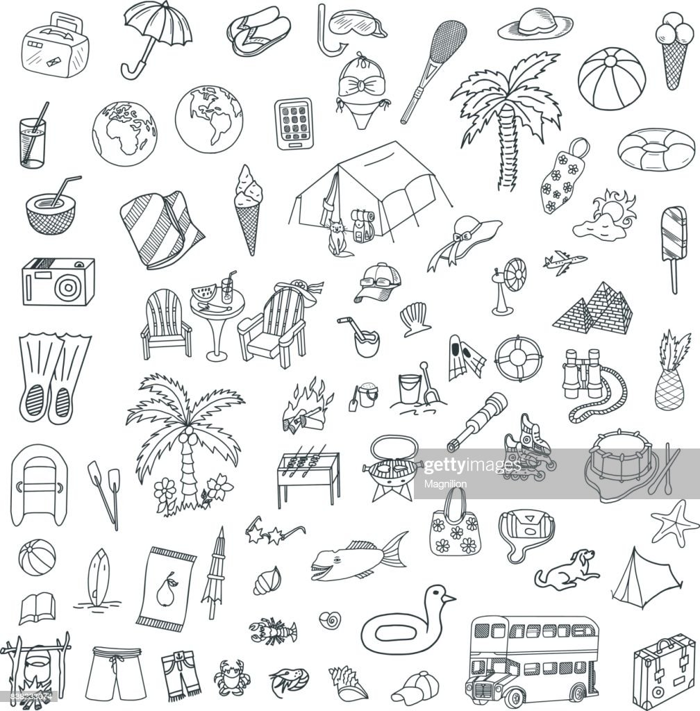 Travel and Sea Doodles Set : stock illustration