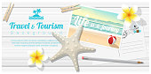 Travel and tourism background with tropical beach postcards on wooden board , vector , illustration