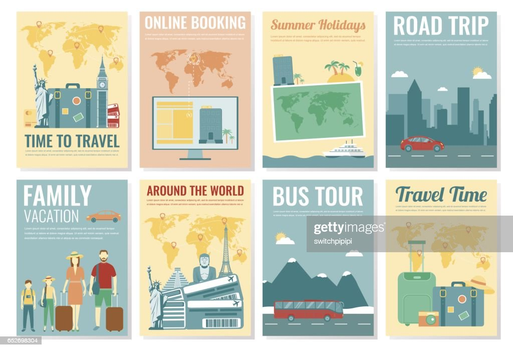 Travel and Tourism brochure set. Template of magazine, poster, book cover, banner, flyer. Vector