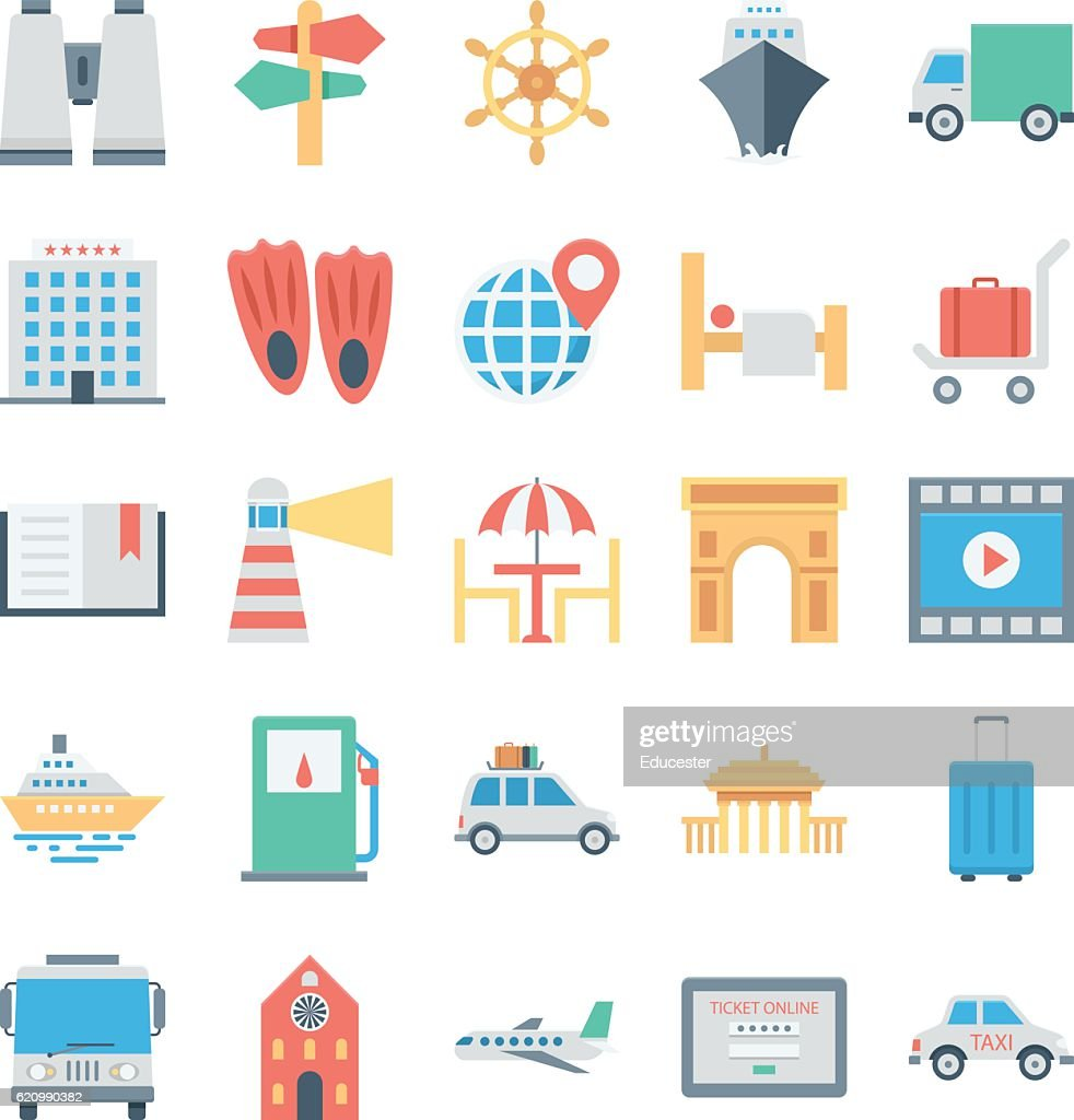 Travel and Tourism Colored Vector Icons 5