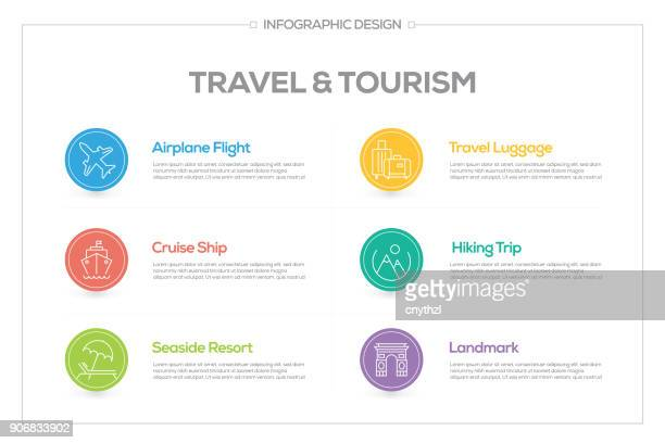 Travel and Tourism Infographic with 6 options, steps or processes.