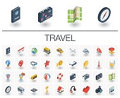 Travel and tourism isometric icons. 3d vector