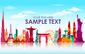 Travel and tourism on skyline background