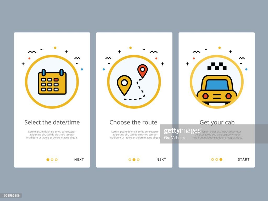 Travel and tourism onboarding screens design. Web UI GUX and UX template for mobile apps on smartphone or website. Modern illustration layout with line vector icons and elements.