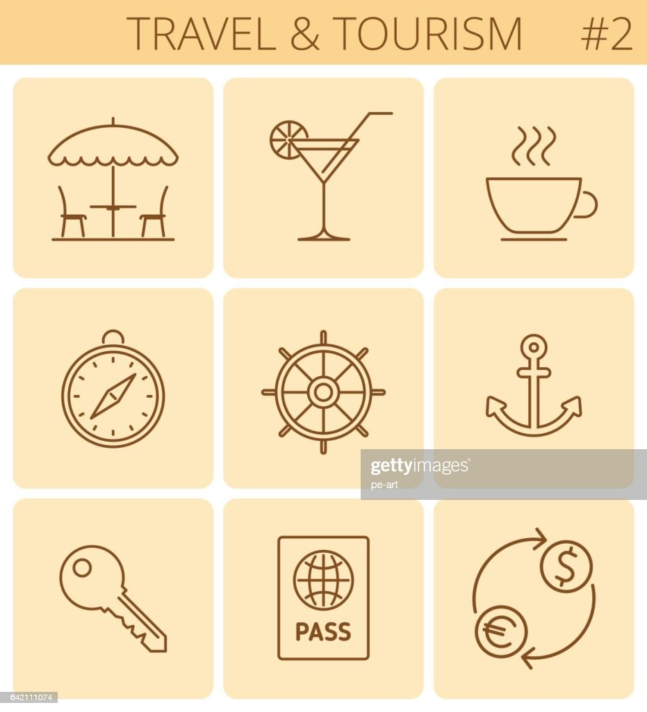 Travel and tourism outline symbols. Vector thin line icon set.