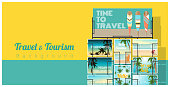 Travel and tourism , tropical sea postcards displayed on colorful background , vector , illustration