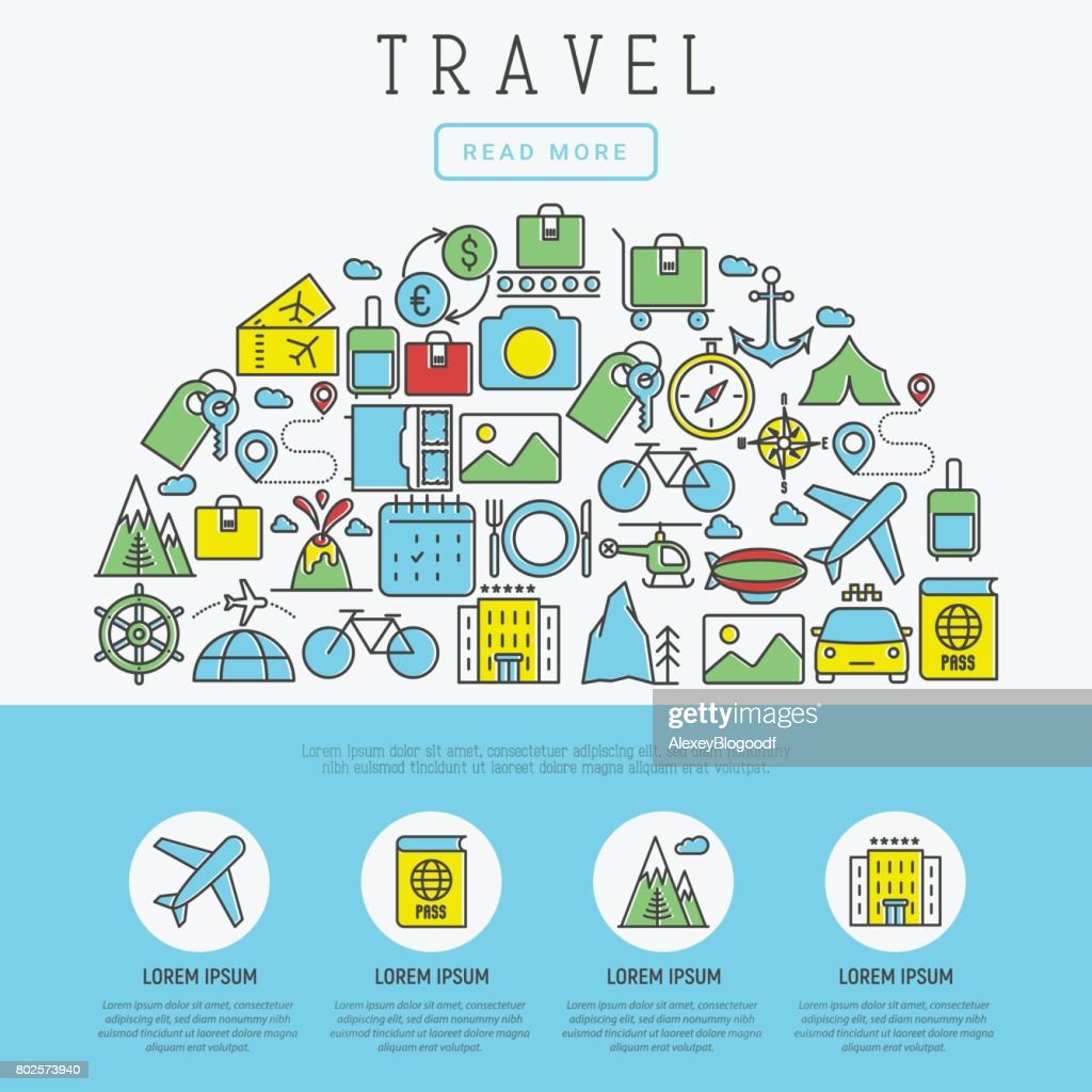 Travel and vacation concept with thin line icons: plane, tickets, hotel, sights. Vector illustration for banner, web page template, print.