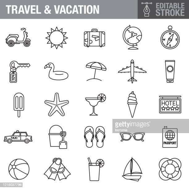 旅行と休暇編集可能なストロークアイコンセット - 観光客点のイラスト素材/クリップアート素材/マンガ素材/アイコン素材