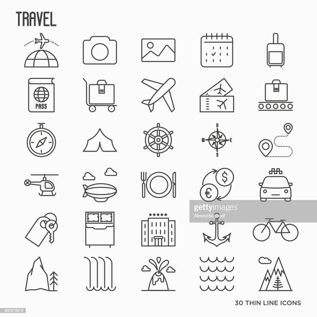 Travel and vacation related thin line icons: plane, tickets, hotel, sights. Vector illustration.
