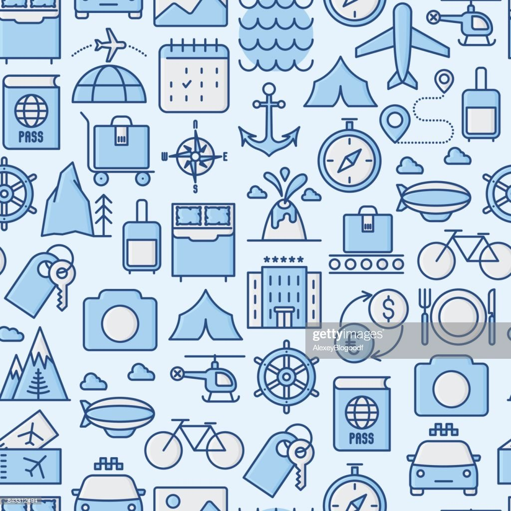 Travel and vacation seamless pattern with thin line icons: plane, tickets, hotel, sights. Vector illustration for background of banner, web page, print media.