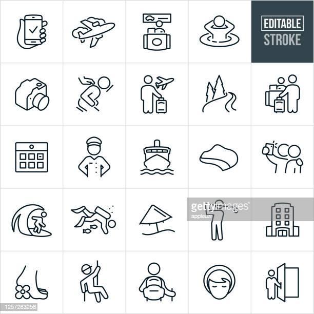 ilustrações de stock, clip art, desenhos animados e ícones de travel and vacation thin line icons - editable stroke - massagista