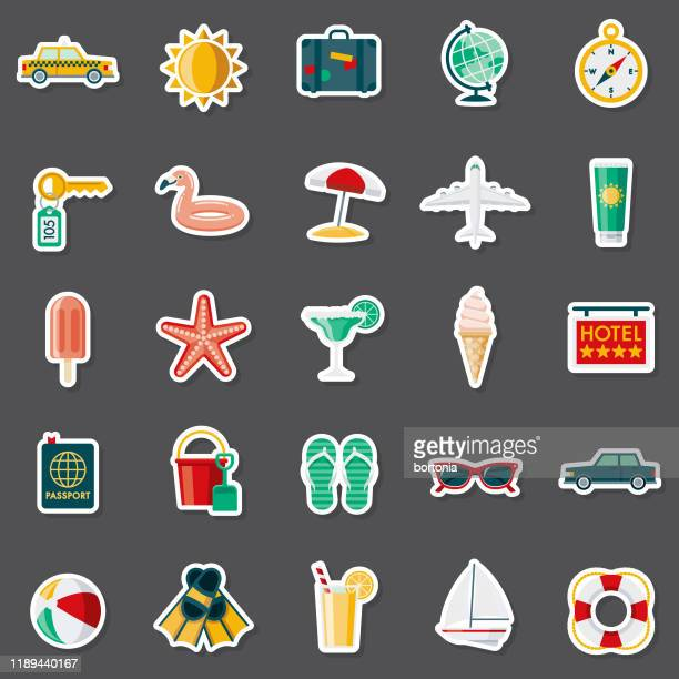 travel and vacations sticker set - frozen food stock illustrations