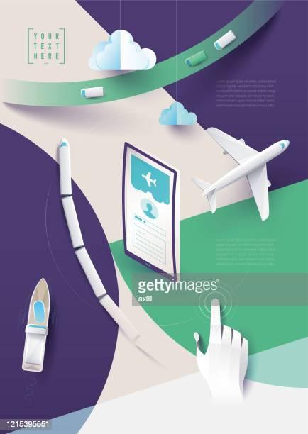 旅行アプリオンラインブック旅行計画 - 交通量点のイラスト素材/クリップアート素材/マンガ素材/アイコン素材