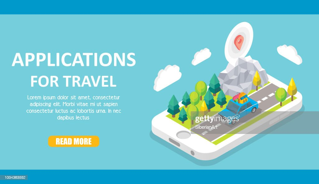Travel apps vector isometric illustration