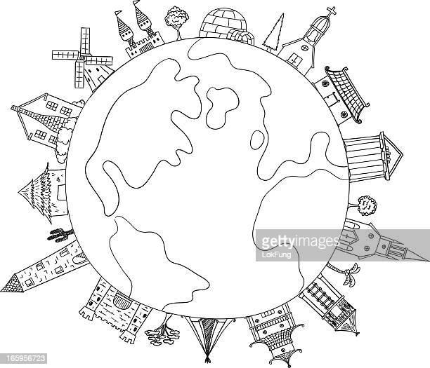 illustrations, cliparts, dessins animés et icônes de voyagez autour du monde illustration - igloo