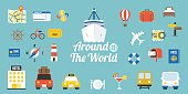 Travel around the world typographic and elements in flat design style