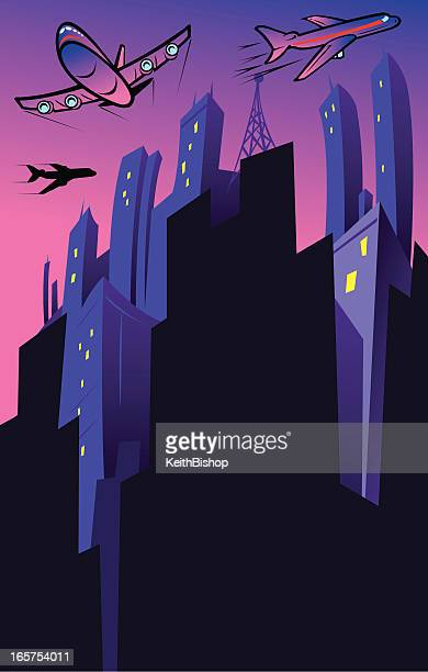 Travel Background - Cityscape with Airplane