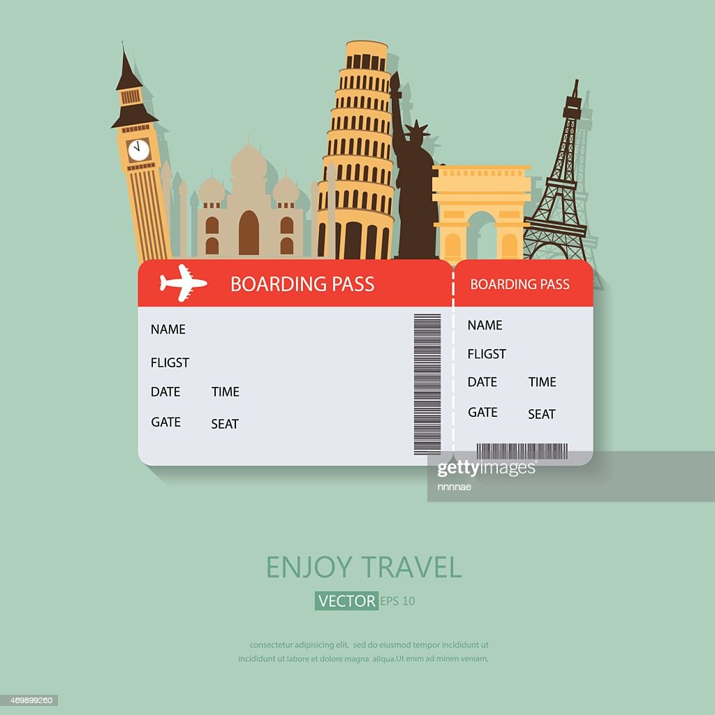 A travel background with boarding pass and tourist spots