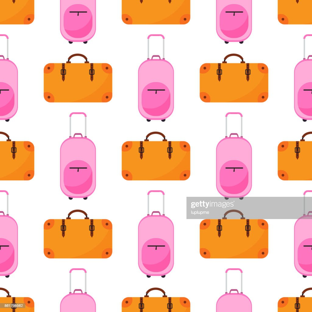 Travel baggage seamless pattern with flat colorful luggage backpacks and bags handbag vector illustration