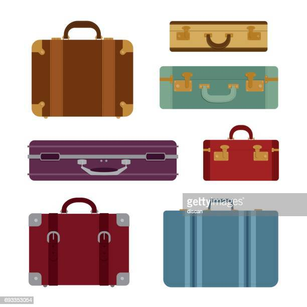 travel bags vector set - travel tag stock illustrations, clip art, cartoons, & icons