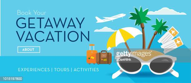 travel banner getaway vacation tropical island design template - advertisement stock illustrations