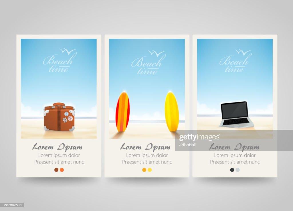 Travel banner set with surf, laptop, bag.