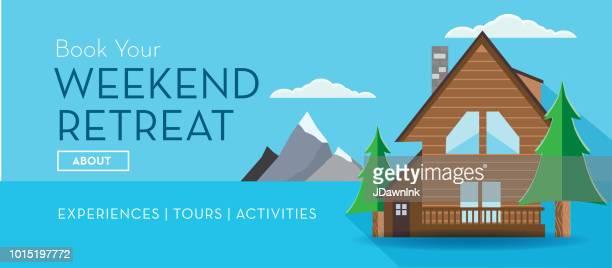 travel banner weekend retreat log cabin cottage design template - log cabin stock illustrations