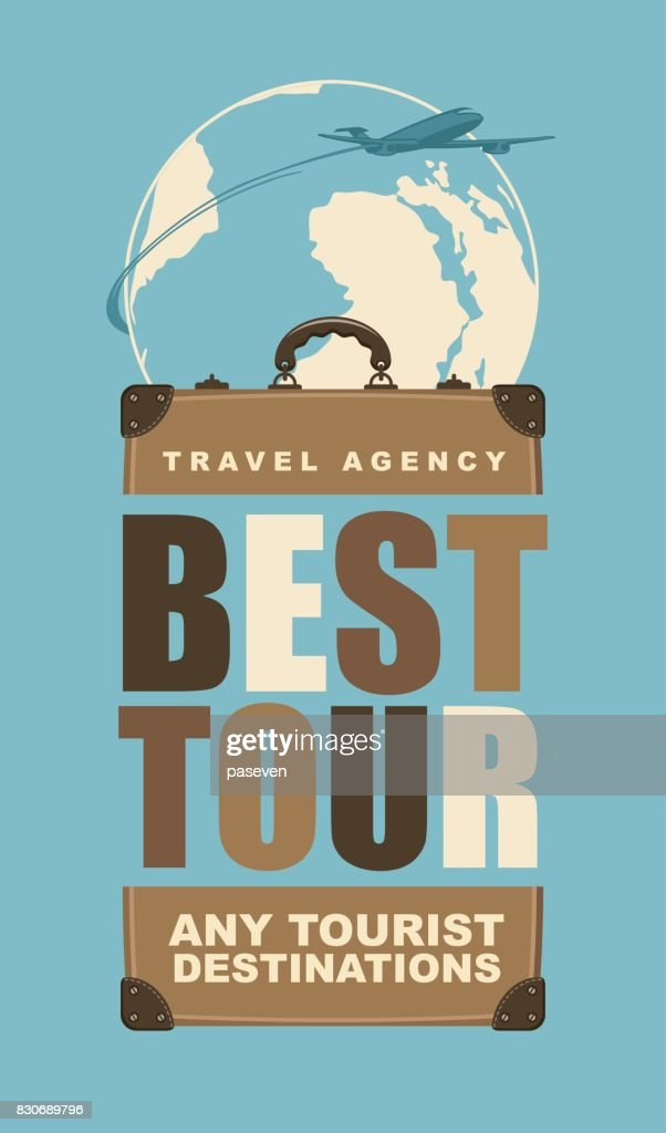 travel banner with a suitcase and planet earth