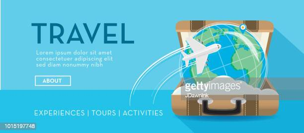 Travel banner with open suitcase with globe inside and airplane design template