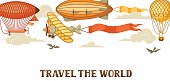Travel banner with retro air transport. Vintage aerostat airship, blimp and plain in cloudy sky