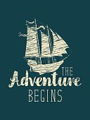 travel banner with sailing ship and inscription