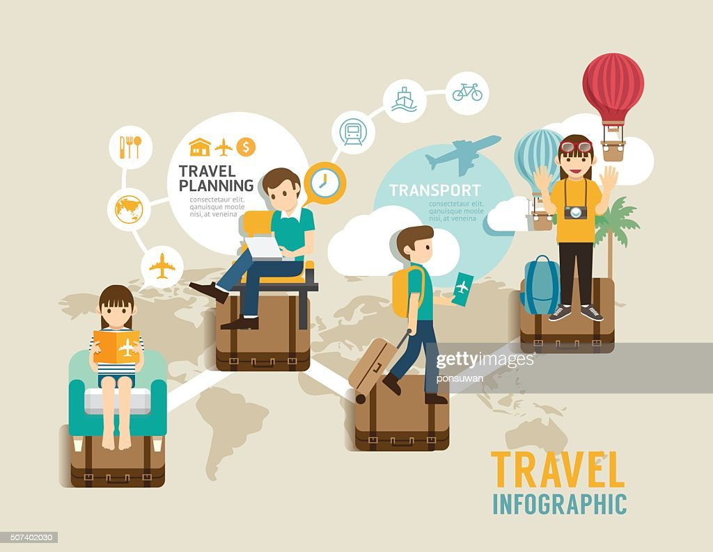 Travel board game flat concept infographic step to world travel