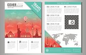 Travel brochure design with famous landmarks and world map.