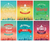 Travel brochure with world landmarks. Template of magazine, poster, book cover, banner, flyer. Vector