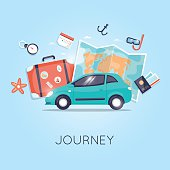 Travel by car. World Travel. Planning summer vacations. Summer holiday.