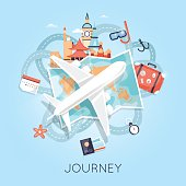 Travel by plane. World adventure. Planning summer vacations. Tourism theme.