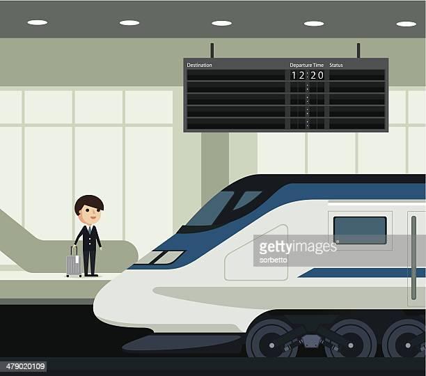 reisen mit der bahn - station stock-grafiken, -clipart, -cartoons und -symbole