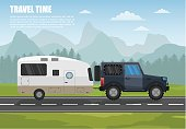 Travel camper trailer outdoor with mountains colorful vector flat banners and tourism banner set.